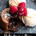Valentine's Day Chocolate Lava Cake Pinterest Image Bottom Black Banner