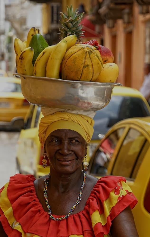 Colombian food on woman's head