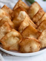Crab ragoons in a geometric shape