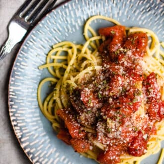 plate of easy pasta sauce with pasta