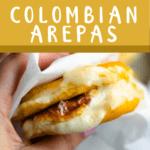 Back To School Colombian Arepas Pinterest Image top dark gold banner