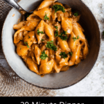 20 Minute Dinner: Creamy Beef and Shells Pinterest Image Bottom Black Banner
