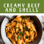 Back To School Creamy Beef and Shells Pinterest Image middle green banner