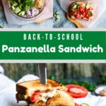 Panzanella Sandwich pinterest image middle green banner