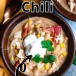Delicious Chicken Chili Pinterest Image top outlined title