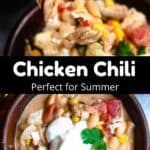 Delicious Chicken Chili Pinterest Image middle black banner