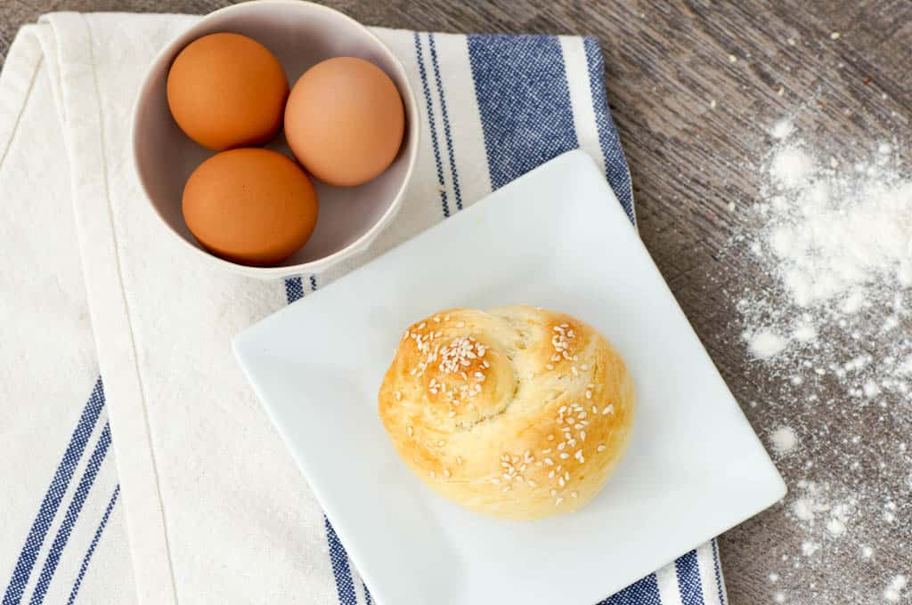 Choreg easter bread with a bowl of eggs