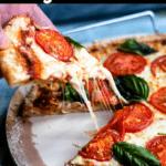 Delicious Margherita Pizza Pinterest Image Top Black Banner