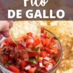 Homemade Pico de Gallo pinterest image top design banner