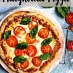 Homemade Margherita Pizza Pinterest Image Top Striped Banner