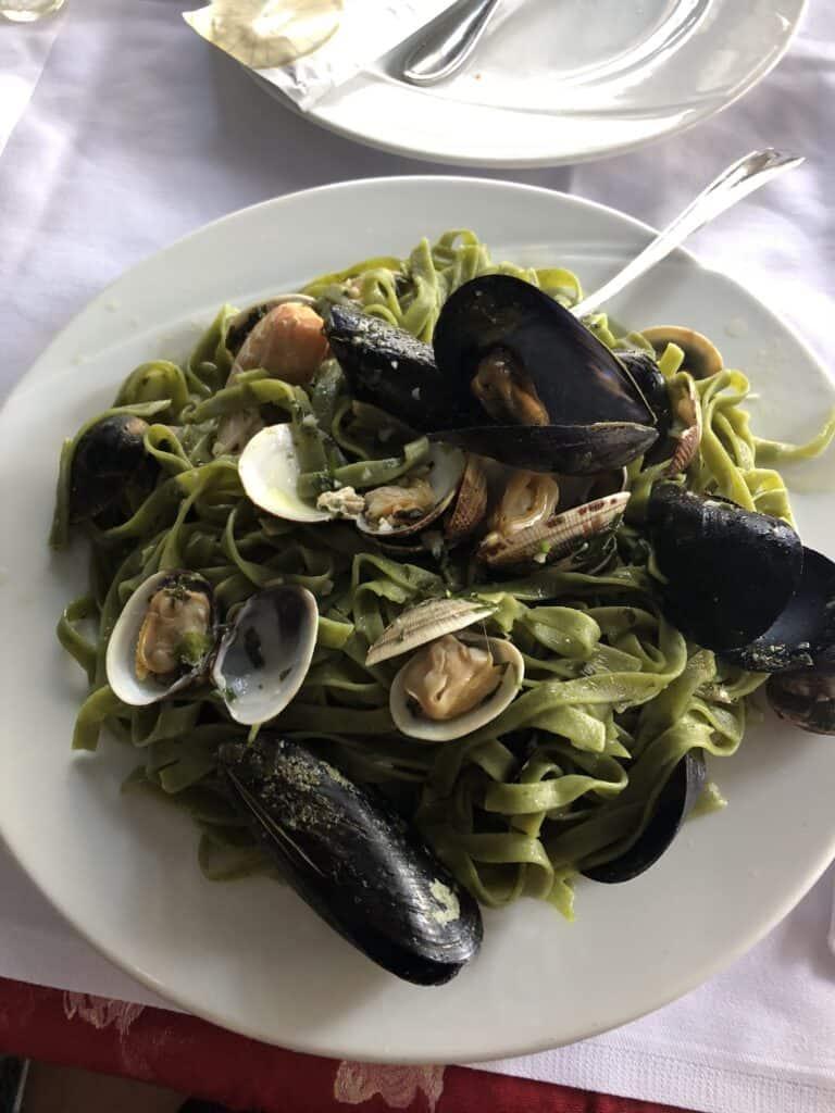 Seafood pasta in Croatia