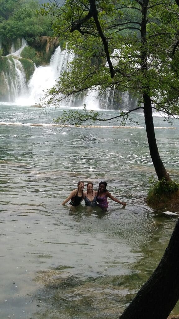 Swimming in the Krka waterfalls