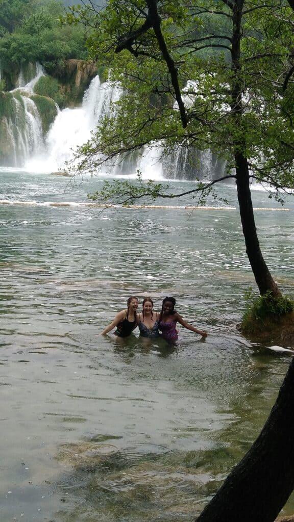 Swimming in the Krka waterfalls
