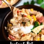 Instant Pot Chicken Chili Pinterest Image bottom black banner