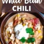 Instant Pot White Bean Chili Pinterest Image top design banner