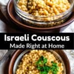 Israeli Couscous Pinterest Image middle black banner