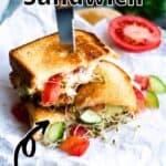 Summertime Panzanella Sandwich Pinterest Image top outlined title