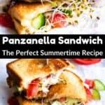 Summertime Panzanella Sandwich Pinterest Image Middle black banner