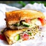 Summertime Panzanella Sandwich Pinterest Image bottom black banner