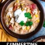 Summertime White Bean Chicken Chili Pinterest Image bottom black banner