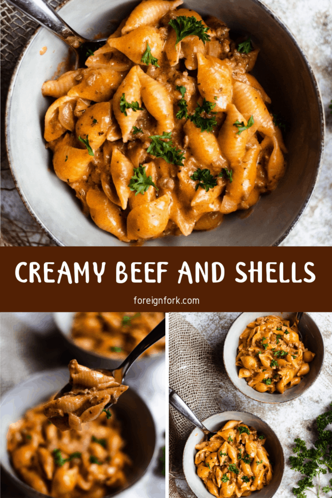 Creamy Beef and Shells Pinterest Image