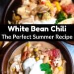 Summertime White Bean Chicken Chili Pinterest Image middle black banner
