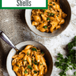 Back To School Creamy Beef and Shells Pinterest Image top corner banner