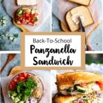 Panzanella Sandwich pinterest image small middle brown border banner