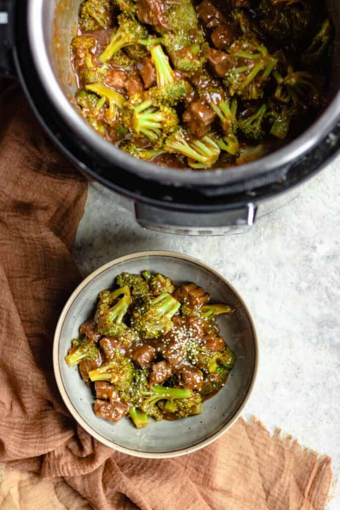 bowl of beef and broccoli with instant pot