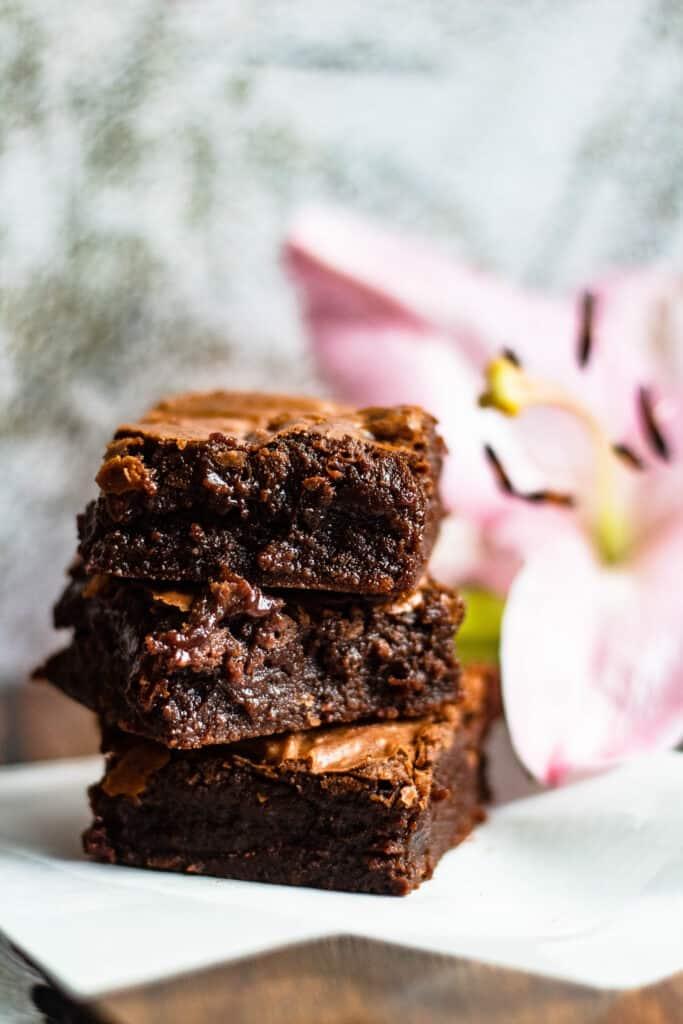 tower of fudgy brownies