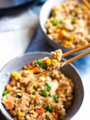 Chopsticks of fried rice