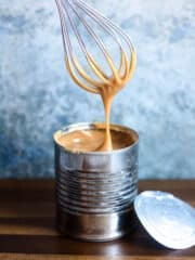 Dulce de leche with whisk