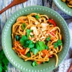 Thai Peanut Noodles in a bowl