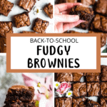Back To School Fudgy Brownies Pinterest Image Center Light Brown Banner
