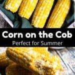 Corn on the Cob Pinterest Image middle black banner