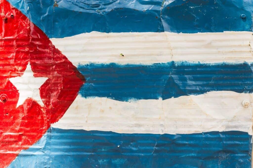 Cuban flag painted on aluminum
