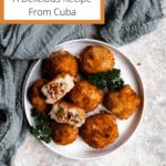 Papas Rellenas from Cuba Pinterest Image Top Left Banner