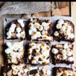 Delicious S'mores Brownies Pinterest Image top black banner