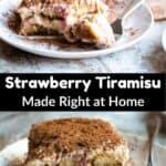 Summer Time Strawberry Tiramisu Pinterest Image middle black banner