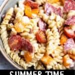 Summer Time Easy Pasta Salad Pinterest Image bottom black banner