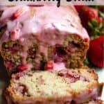 Valentine's Day Strawberry Bread Pinterest Image top striped banner