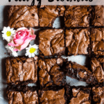 Valentine's Day Fudgy Brownies Pinterest Image Top Striped banner