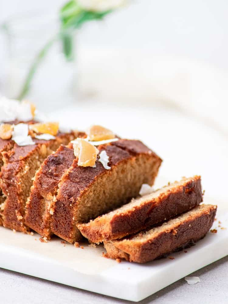 Coconut loaf cake with dried fruit on top