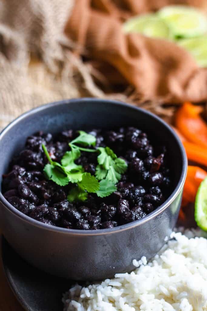 close of up instant pot cuban black beans