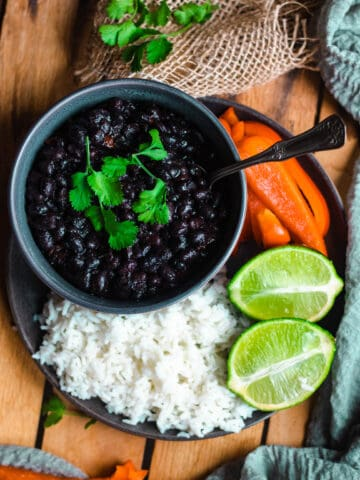 Bowl of Instant Pot Cuban Black Beans