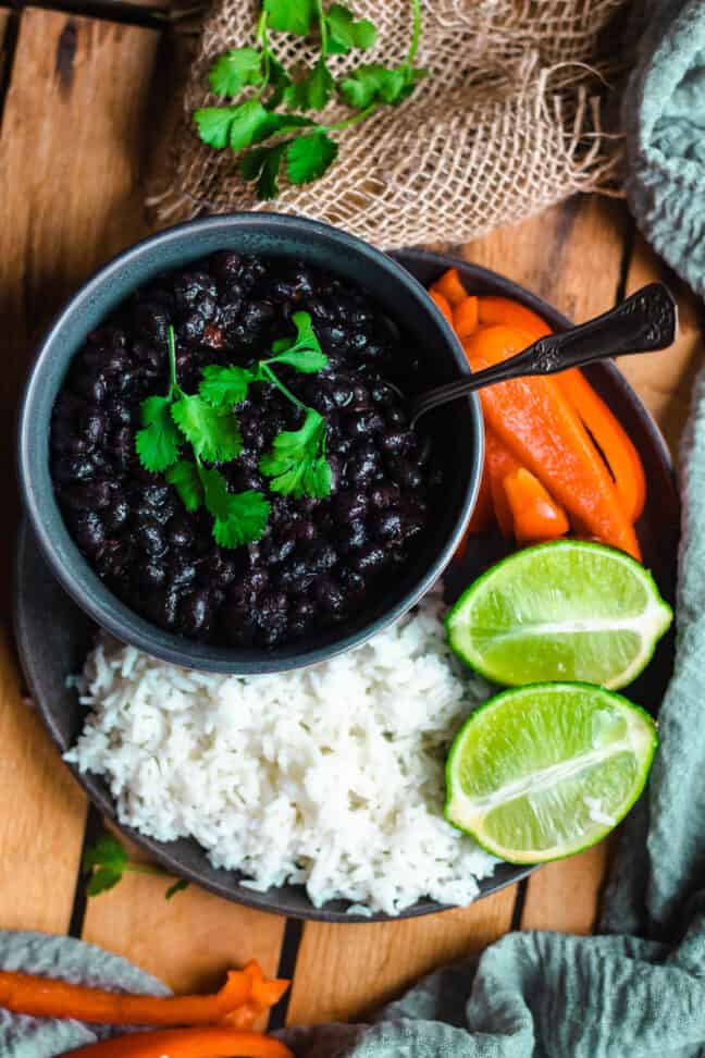 Bowl of Instant Pot Cuban Black Beans