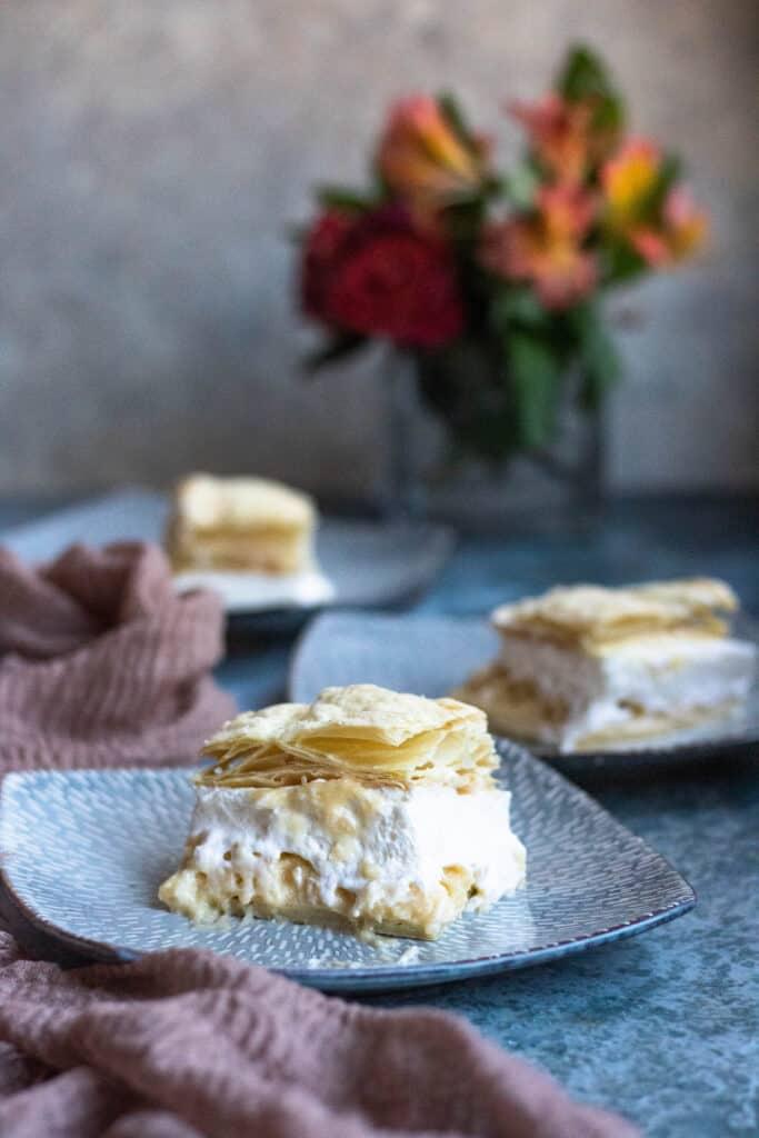 3 photos of custard layer cake