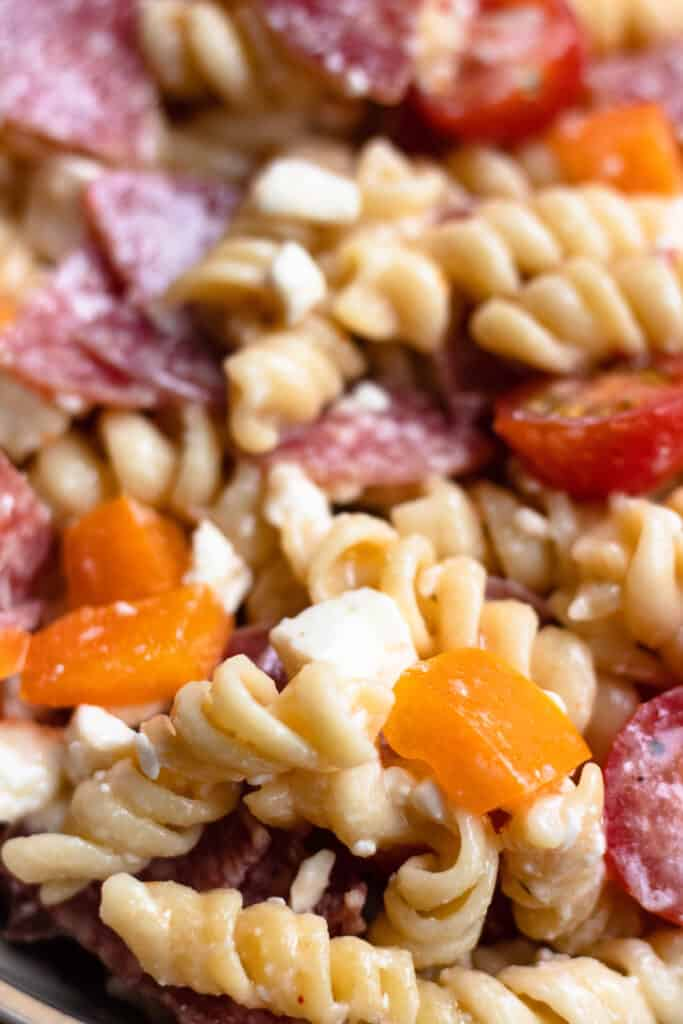 close up of Easy Pasta Salad recipe