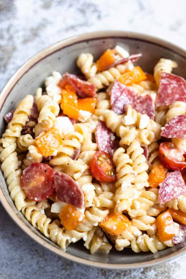Bowl of easy pasta salad