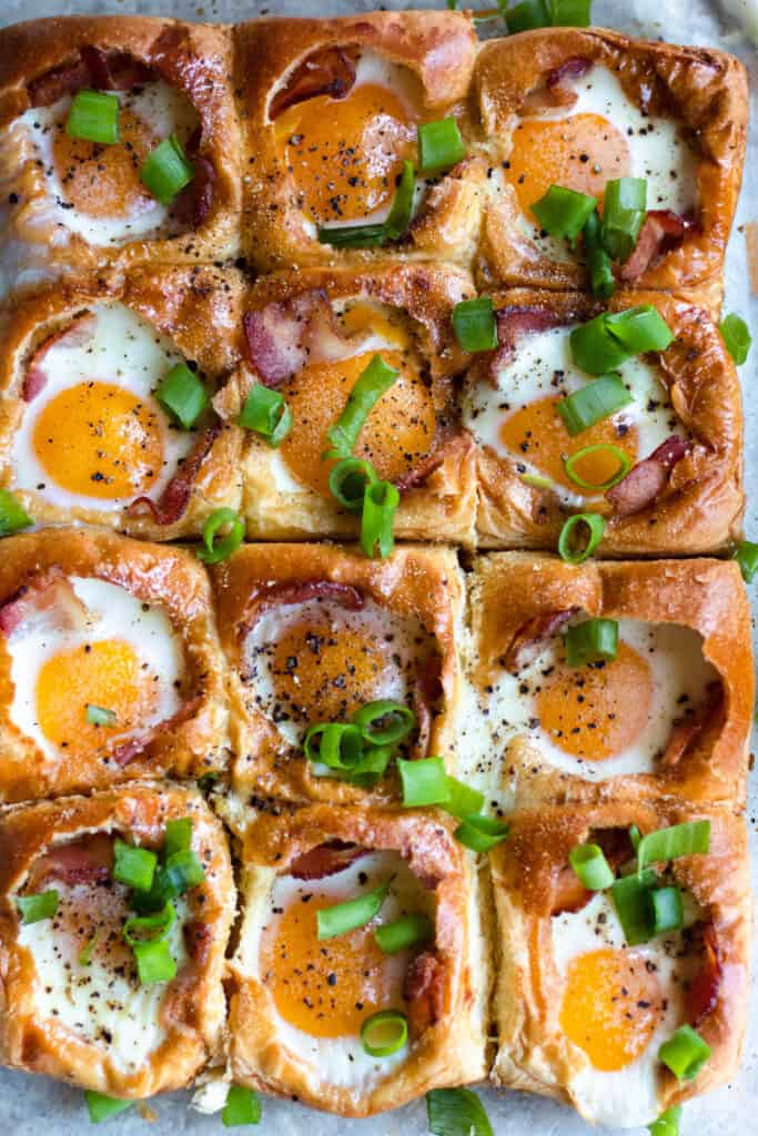 Baked egg in hole with green onions